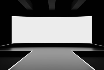 Modern stage with blank white wide screen display 3D render mockup