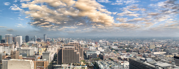 Fototapete - Panoramic aerial view of Downtown Los Angeles at sunset, California, USA