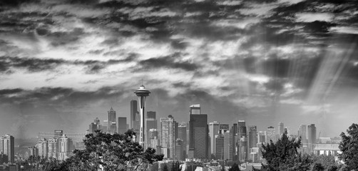 Wall Mural - Panoramic aerial view of city buildings, Seattle, WA - USA