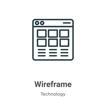 Wireframe outline vector icon. Thin line black wireframe icon, flat vector simple element illustration from editable technology concept isolated stroke on white background