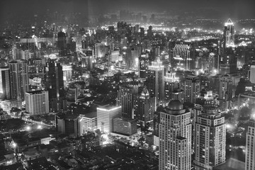Door stickers Beijing High Angle View Of Illuminated Cityscape At Night