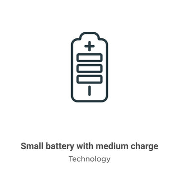 Small battery with medium charge outline vector icon. Thin line black small battery with medium charge icon, flat vector simple element illustration from editable technology concept isolated stroke on