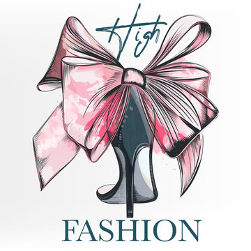 Fashion vector illustration with female elegant shoe and bow in watercolor style