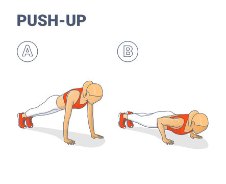 Push-Ups Exercise. Sporty Girl Silhouettes Colorful Concept.