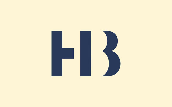 HB or BH and H or B Uppercase Letter Initial Logo Design, Vector Template
