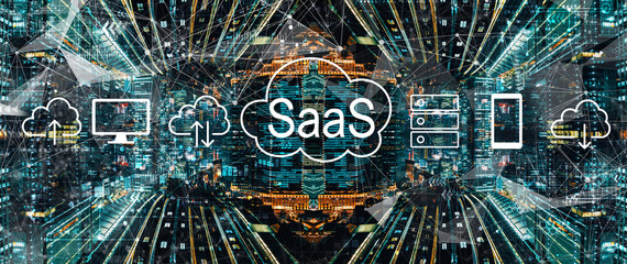 SaaS - software as a service concept with abstract Tokyo night cityscape Fotobehang