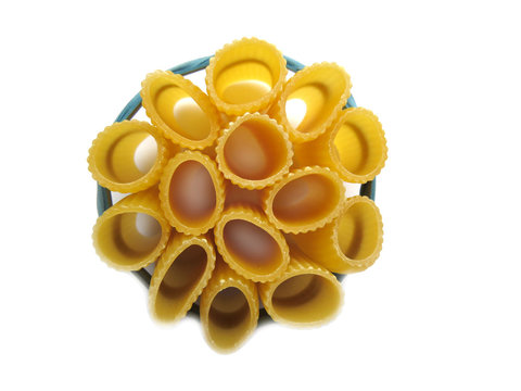 Rigatoni pasta tied with elastic