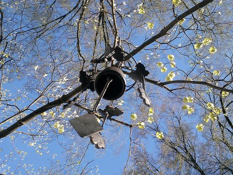 Low Angle View Of Wind Chime Hanging On Tree Branch Against Sky