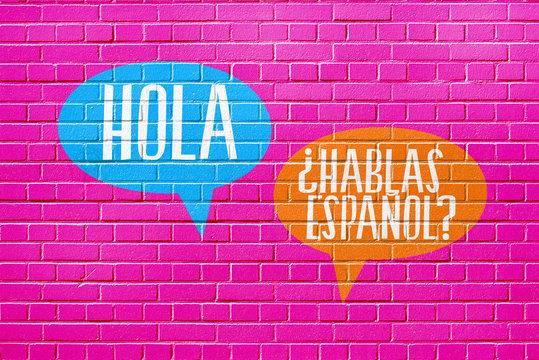 Eine Wand, Sprachschule und Frage Sprechen Sie spanisch