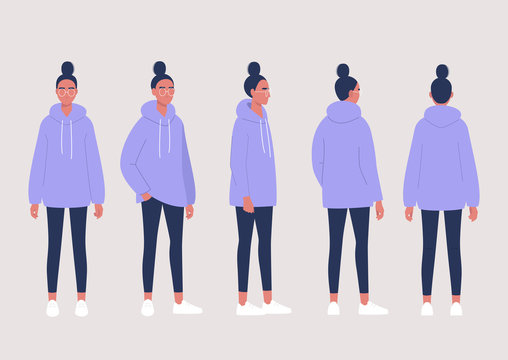 Young female character poses collection: front, side and back views