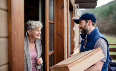 Man courier delivering parcel box to senior woman.