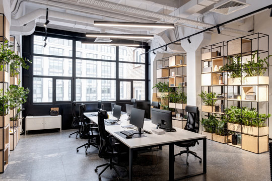 modern loft office interior with furniture