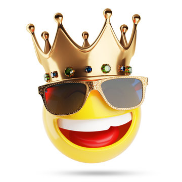 Smiling cool emoji with glamorous golden sunglass and a royal crown. Isolated, clipping path included.