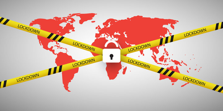 Global Lockdown, Sealed World - Vector Design Concept with World Map, Cordon Tape and Padlock