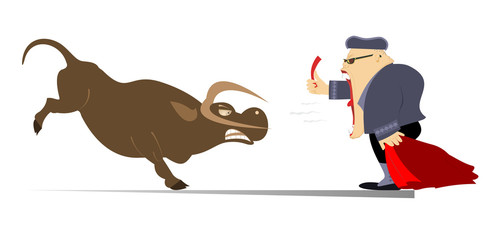 Keuken foto achterwand Stierenvechten Cartoon bullfighter shows a red card to the angry bull illustration. Cartoon bullfighter with matador cape and sword stands on the   slaughtered bull isolated on white illustration