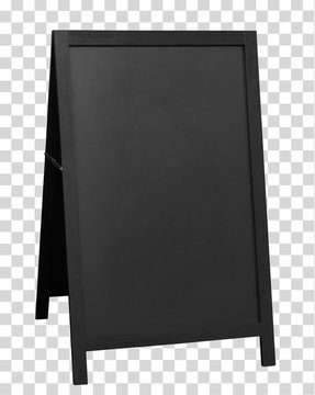 Blank wooden foldable sidewalk  signboard or sign mockup or mock up template isolated on transparent background including clipping path.