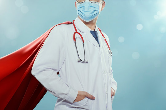 Closeup Doctor with mask and cape hero