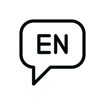 Speak english isolated icon, speaking english language outline vector icon