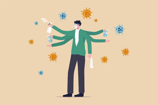Washing, sanitise your hands and clean surface to protect Coronavirus COVID-19 infection concept, healthy man with multiple hands using alcohol gel to wash his hands and sanitiser to clean surface.