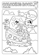 Self adhesive Wall Murals For Kids Coloring book pirate boat theme 2