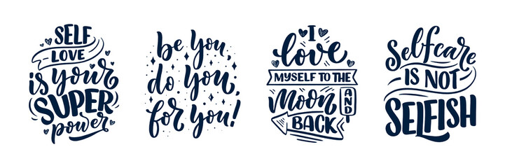 Set with selfcare lettering quotes for blog or sale. Time to something nice. Beauty, body care, premium cosmetics, delicious, ego. Modern calligraphy. Vector design prints