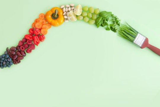 Balanced diet, food brush 'stroke' concept