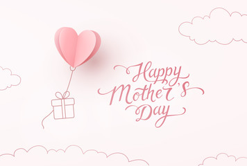 Heart balloon with gift box flying on pink sky background. Vector Happy Mother's Day greeting card design..