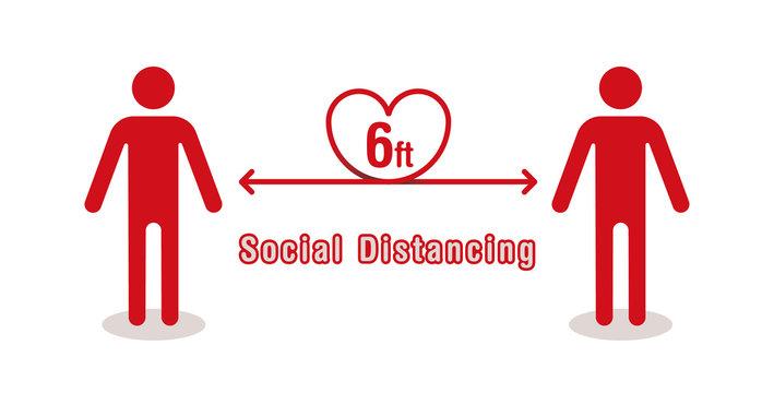 ソーシャルディスタンス(6ft) :Simple vector illustration of heartful social distancing(6ft)