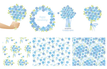 forget-me-not flowers in retro style