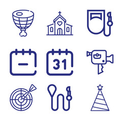 Set of 9 devoted outline icons