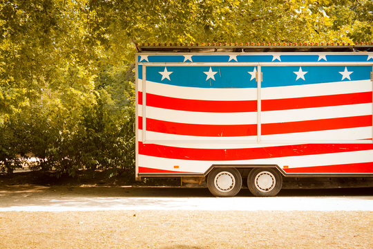 American Flag Painted On Trailer Of Semi-truck