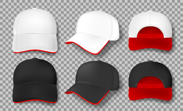Realistic Baseball cap mockup isolated. white and black textile cap with red visor, front, back and side view. design element template. Vector illustration