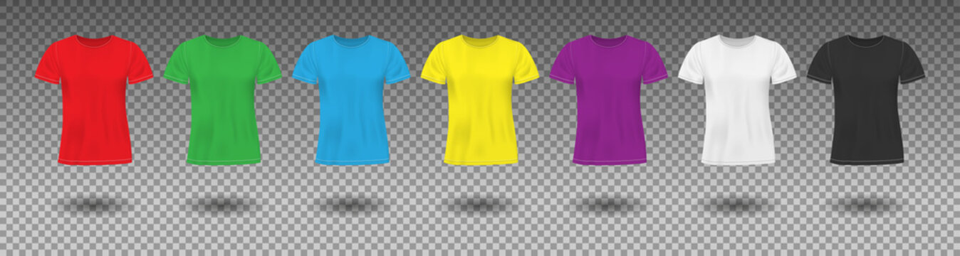 Set of Realistic colored t-shirt mockup. Red, green and blue men t shirt clothes. Different colors sportswear template isolated. Vector illustration