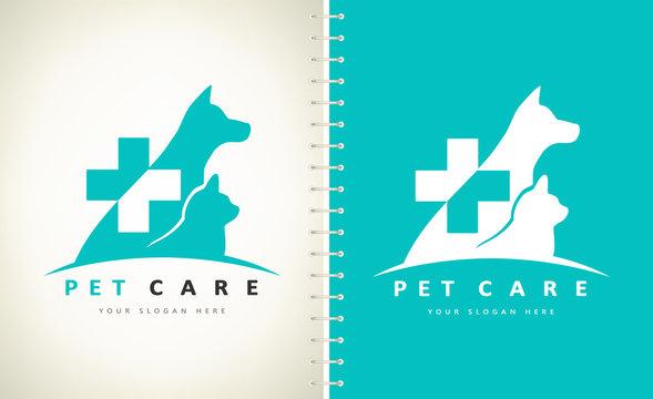 Dog and cat logo. Pet clinic design vector. Nurseries for pets.