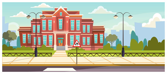 School building with small fence around. Brick building near road and warning sign. Education concept. Illustration can be used for topics like architecture, learning environment, boarding school Fotomurales