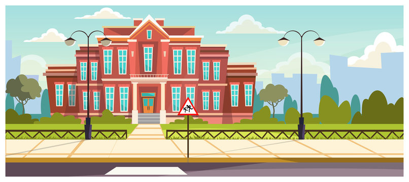 School building with small fence around. Brick building near road and warning sign. Education concept. Illustration can be used for topics like architecture, learning environment, boarding school