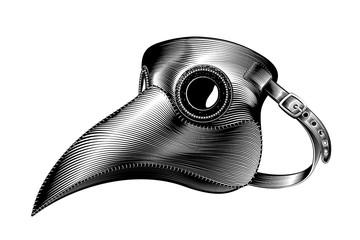 Plague mask vector illustration. Medieval medical mask ink engraving. Fototapete