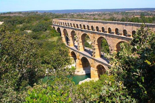 Pont Du Gard Over Gard River