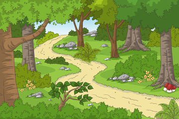 Wall Mural - Cartoon forest landscape with hiking trail. Hand drawn vector illustration with separate layers.