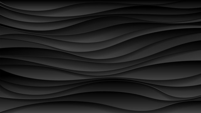 Abstract black wave paper cut design. Background for banners, posters, flyers, book covers and other design. Vector illustration.