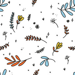 Poster de jardin Papillons dans Grunge Vector hand drawn textures. Hipster grunge drawings. Hand drawing isolated boho floral illustration with leaves, branches, flowers. Lovely texture. Perfect for your project,wedding,packaging.