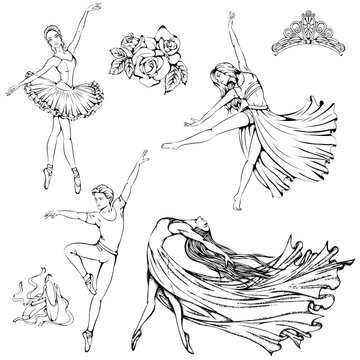 Vector illustration of girls and boy dancing ballet, contemporary, modern dance isolated on white background. Dance Icon. Dance accessories. Line art template for card, banner or coloring book.
