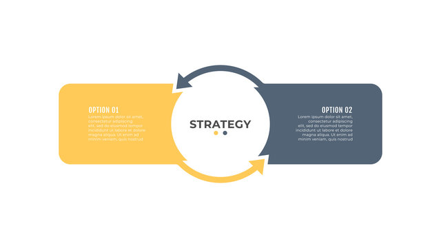 Simple infographic elements for presentation. Business concept with 2 nmber options, steps, arrows. Vector template.