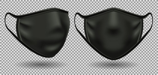 Set black medical mask with a symbol of coronavirus covid-19. Front view. To protect against infection and polluted air. 3D realistic illustration. Isolated on transparent background, vector.