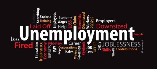 Unemployment Word Cloud on a Black Background