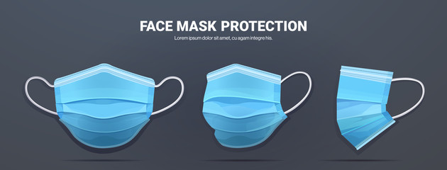 blue antiviral medical face mask protection against coronavirus prevention of virus spreading pandemic covid-19 view from different angles copy space horizontal vector illustration