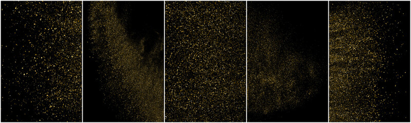 Set of Gold Glitter Texture Isolated on Black Background. Golden stardust. Amber Particles Color. Sparkles Rain. Vector Illustration, Eps 10.