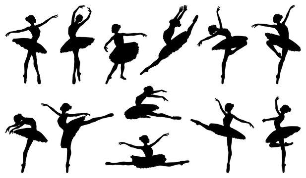 Ballerina dancer silhouette ballet dancing poses