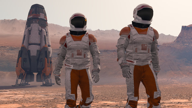 Astronaut Wearing Space Suit Walking On The Surface Of Mars. Exploring Mission To Mars. Futuristic Colonization and Space Exploration Concept. 3d rendering.