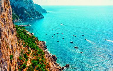 Foto auf Gartenposter Reef grun Capri Island and Faraglioni in Italy at Naples reflex
